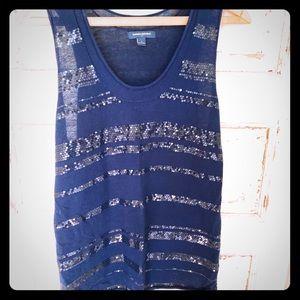 Sleeveless navy blue Banana Republic light sweater